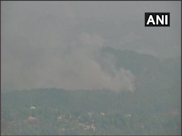 Forest fire in the region around Dharamshala