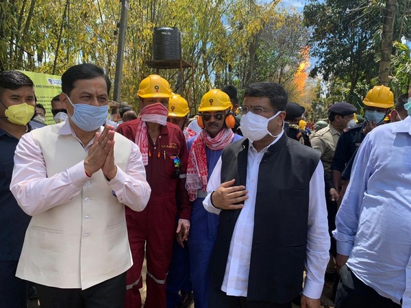 Union Minister of Petroleum and Natural Gas Dharmendra Pradhan along with Assam Chief Minister Sarbananda Sonowal at Baghjan blowout site