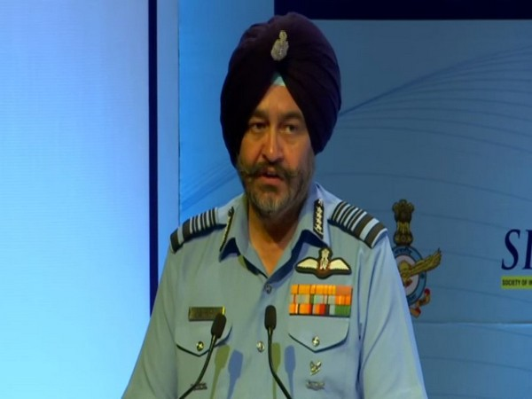 Air Chief Marshal BS Dhanoa speaking at an event in New Delhi on Tuesday. Photo/ANI
