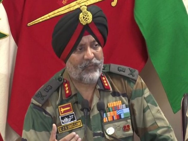 Chinar Corps Commander Lieutenant General KJS Dhillon addressing a press conference in Srinagar on Wednesday. (Photo/ANI)