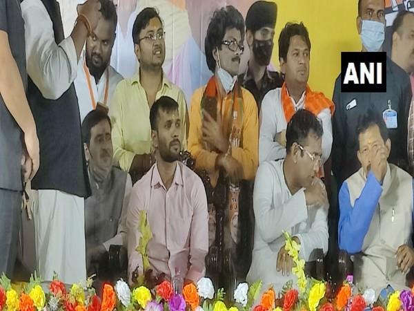 Ashok Dinda (Pink Shirt) being inducted into BJP in Kolkata on Wednesday.