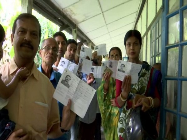 Visuals outside polling booth in Dhubri Assam