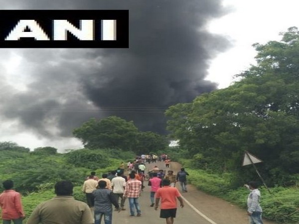 Visuals from the incident where an explosion took place in a chemical factory in Dhule district of Maharashtra on Saturday morning. Photo/ANI