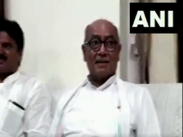 Congress leader Digvijaya Singh speaking to media persons in Bhind, Madhya Pradesh on Saturday. Photo/ANI