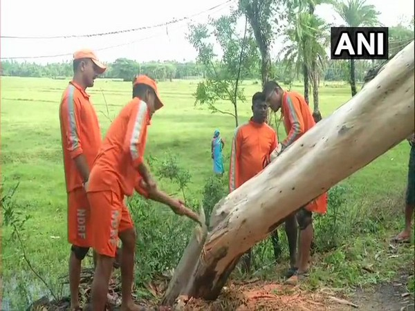 NDRF personnel clearing road at Digha