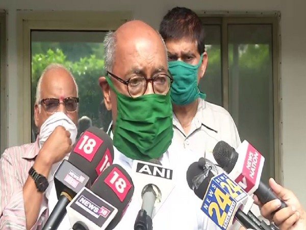 Congress leader Digvijaya Singh speaking to media on Thursday.