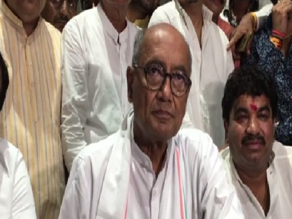 Former Madhya Pradesh Chief Minister Digvijaya Singh speaking to media in Indore on Saturday. Photo/ANI