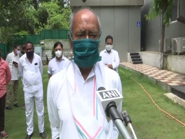 Congress leader Digvijaya Singh speaking to media in Bhopal on Thursday.