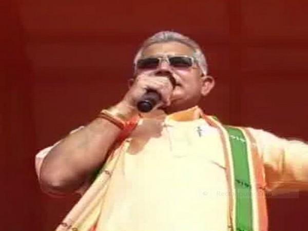 Dilip Ghosh addressing public at Bankura on Saturday