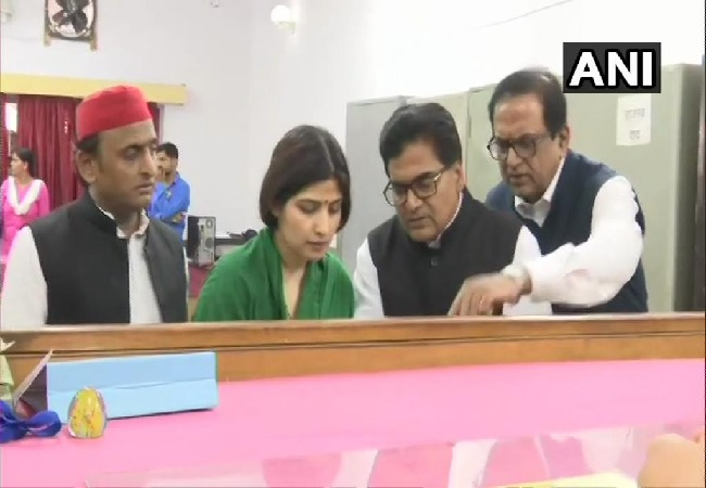 SP leader Dimple Yadav filing her nomination from Kannauj (Photo/ANI)