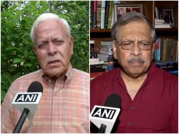 Former diplomats Ashok Sajjanhar (left) and Sheel Kant Sharma (right) speaking to ANI on Monday in New Delhi. Photo/ANI