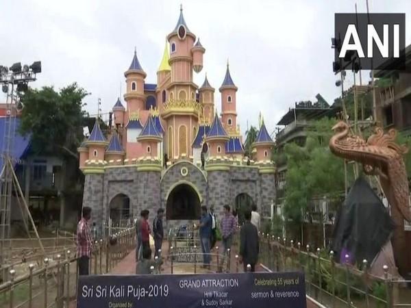 The Disneyland theme Kali pooja pandal in Guwahati in Assam on Saturday. Photo/ANI
