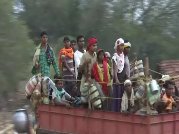 Visual of villagers returning back to Bijapur (Photo/ANI)