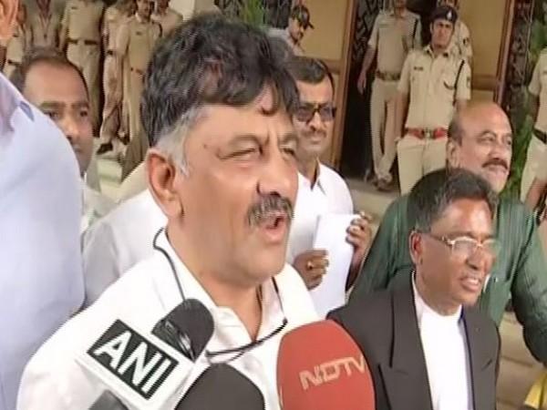 Congress leader DK Shivakumar at Vidhana Soudha on July 11