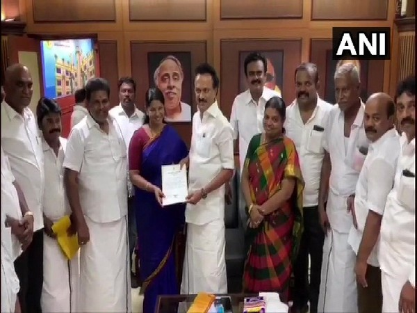 Newly elected MPs and MLAs meet DMK Chief MK Stalin at party office in Chennai, Tamil Nadu on Friday Photo/ANI.