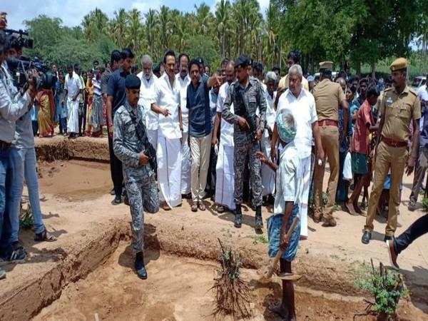 Opposition leader and Dravida Munnetra Kazhagam (DMK) president MK Stalin visited the Keeladi archaeology site on Friday. Photo/ANI