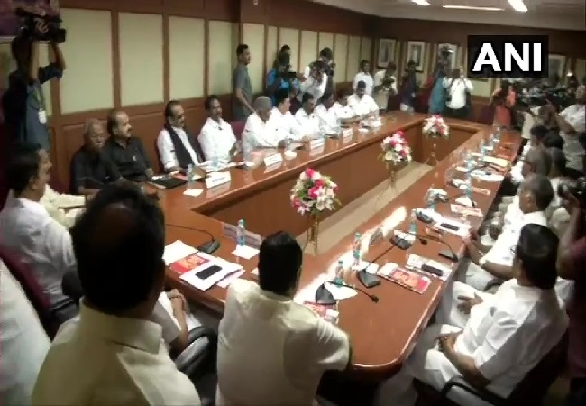 All party meeting of DMK and its allies in Chennai, Tamil Nadu on Friday.