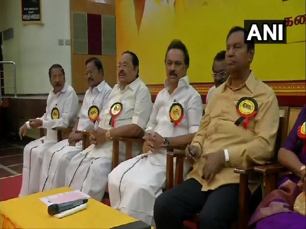 A visual from the DMK executive meeting in Chennai, Tamil Nadu on Tuesday.