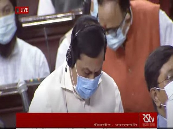 Union Minister of Ports, Shipping and Waterways Sarbananda Sonowal in Rajya Sabha (Photo/ANI)