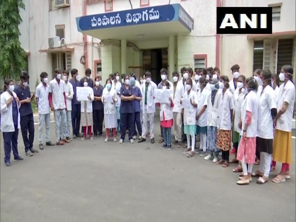 Doctors protesting at Erragada Hospital against the assault on their colleague by Covid Patient's kin.
