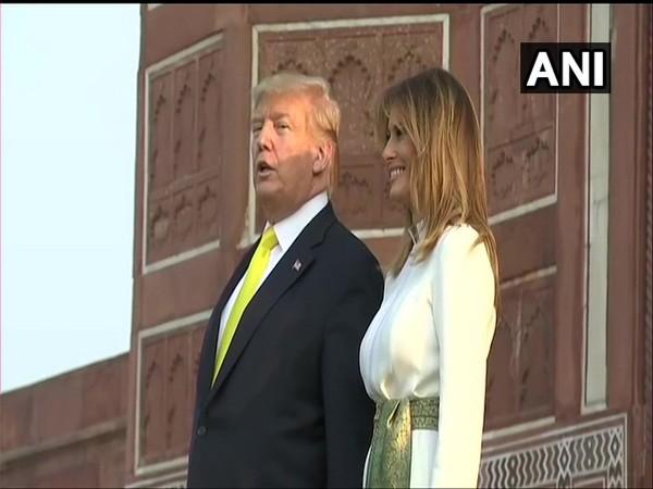 US President Donald Trump and First Lady Melania Trump at the Taj Mahal
