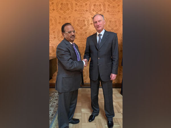 National Security Advisor (NSA) Ajit Doval (L) with Russian counterpart Nikolai Patrushev (R) in Moscow on Wednesday