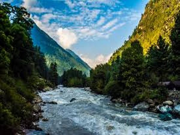 A view of the Parvati river in Kasol in Himachal Pradesh.