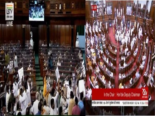 Visuals from Lok Sabha and Rajya Sabha (Photo/ANI)