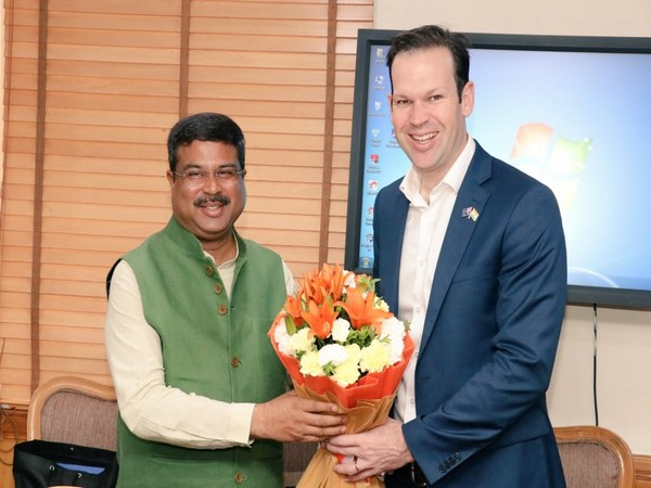 Union Minister Dharmendra Pradhan and Australian Minister for Resources and Northern Australia, Senator Matthew Canavan. Photo/Twitter