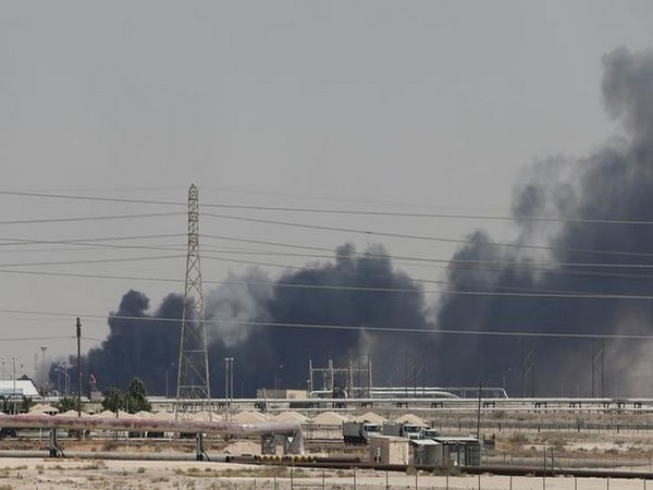 The drone attack sparked a huge fire at Saudi Aramco factories on Saturday.