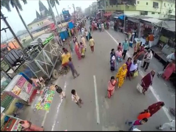 A grab from drone which is being used by Uttar Pradesh Police in Ayodhya.