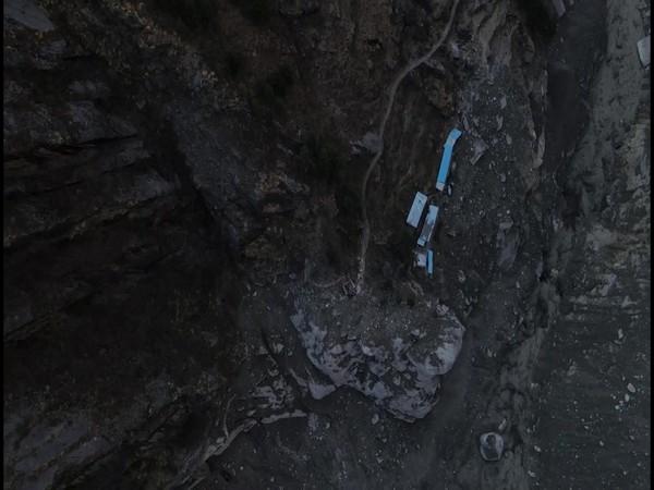 Drones of Garuda Aerospace at Chamoli glacier burst site. (Photo/ANI)