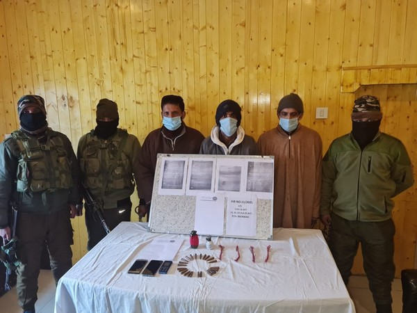 Arrested terror associates with security forces in Budgam, Jammu and Kashmir.
