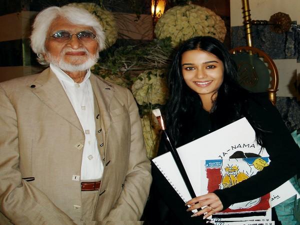 Late painter M.F Husain with Amrita Rao