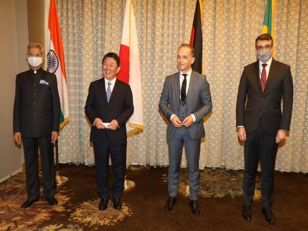 India's S Jaishankar,  Japan's Toshimitsu Motegi, Germany's Heiko Maas and Brazil's Carlos Alberto Franco Ranca