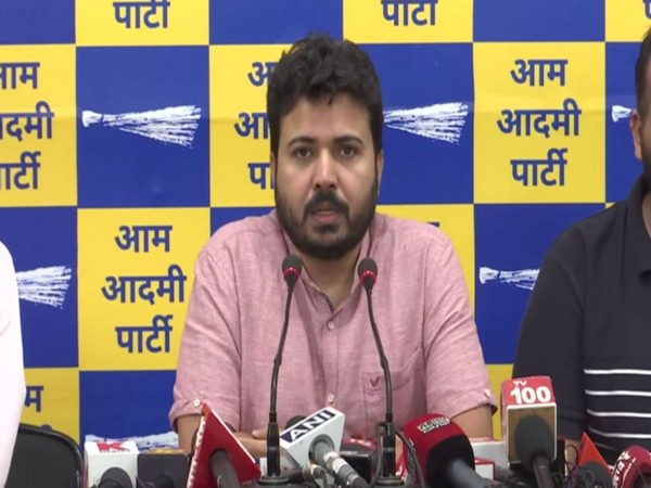 AAP leader Durgesh Pathak addressing a press conference in Delhi (Photo/ANI)