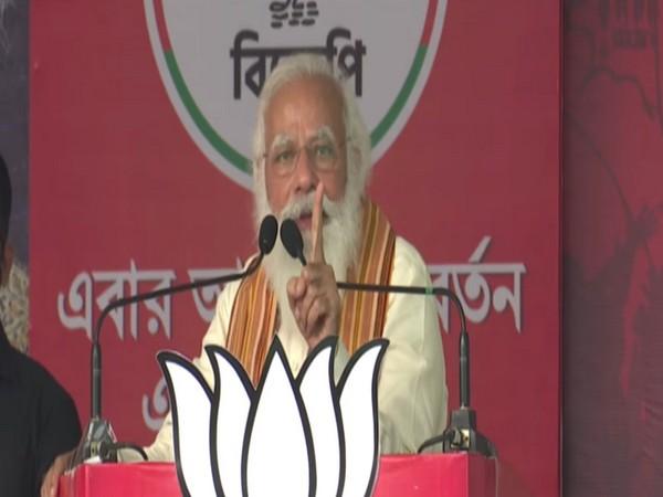 Prime Minister Narendra Modi speaking in Bengal's Barasat on Monday. (ANI)
