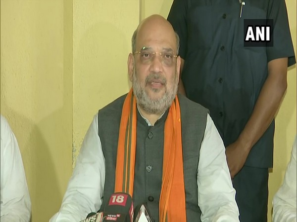 Union Home Minister and Bharatiya Janata Party (BJP) Amit Shah addressing a press meet in Nandigram on Tuesday.