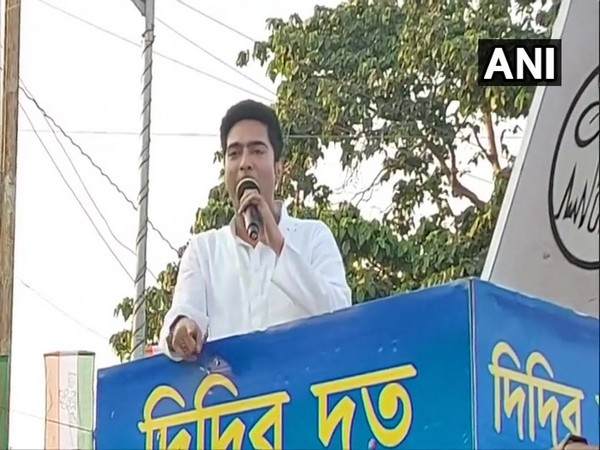 TMC MP Abhishek Banerjee addresses a rally in West Midnapur (Photo/ANI)