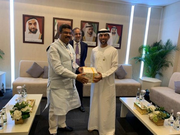 Union Minister of Petroleum and Natural Gas Dharmendra Pradhan with UAE Minister of Energy and Industry Suhail Al Mazroui in Abu Dhabi on Tuesday. Photo/ANI