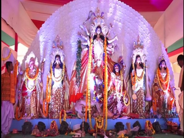 Idol of Godess Durga at veteran actor Biswajit Chatterjee's Durga Puja pandal