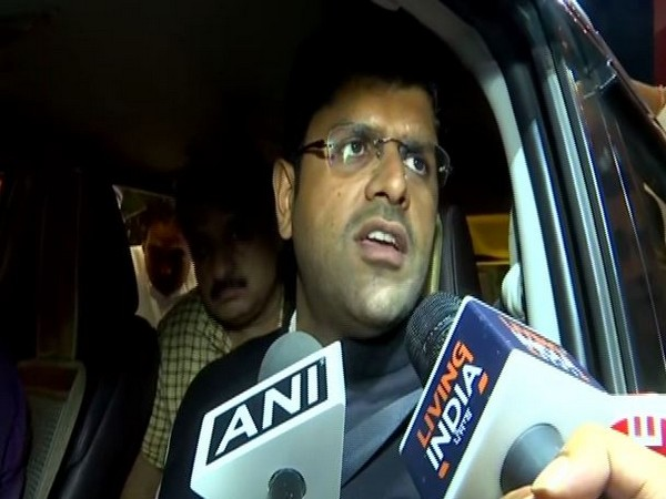 Haryana Deputy Chief Minister Dushyant Chautala speaking to media persons in Chandigarh on Friday. Photo/ANI
