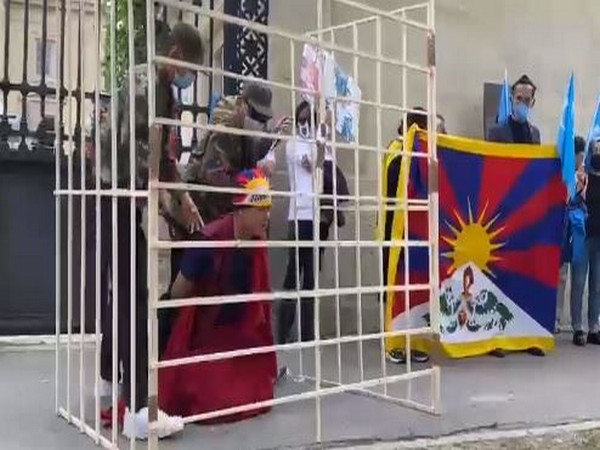 A street play displaying China's repression of Tibetans during a protest in France.