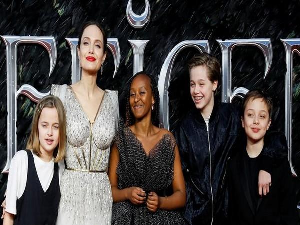 Actor Angelina Jolie, with her kids