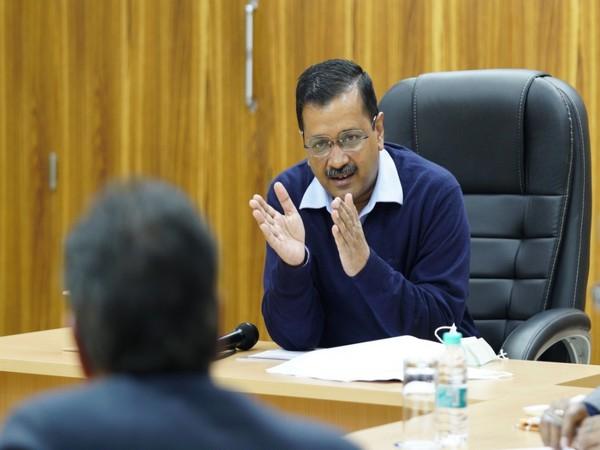 Delhi CM Arvind Kejriwal speaking in the meeting on Feb 9