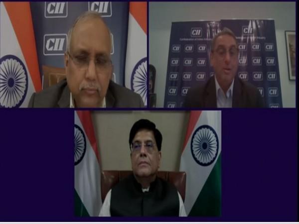 Union Minister Piyush Goyal addressing Plenary Session of CII- Horasis India Meeting 2021 (photo/ANI)