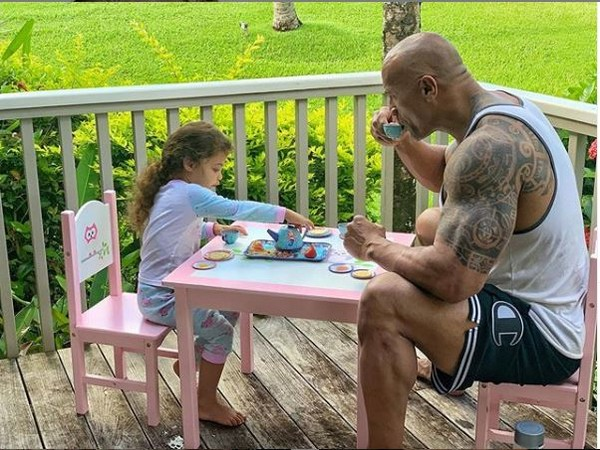 Dwayne Johnson along with his 3½-year-old daughter Jasmine Lia (Image courtesy: Instagram)
