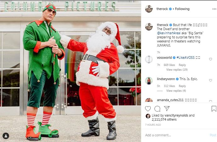 Dwayne Johnson And Kevin Hart Get Into Christmas Spirit