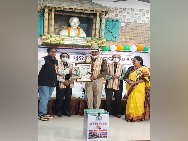 ASI Rajesh Kumar at the felicitation ceremony in Cuttack