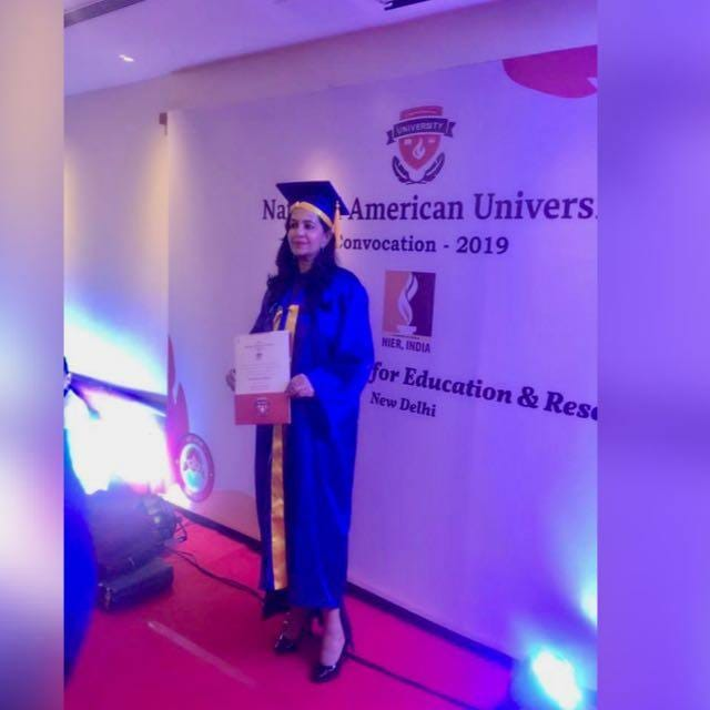 Shabnam Asthana with the Honorary Doctorate degree awarded by National American University. Photo/ANI